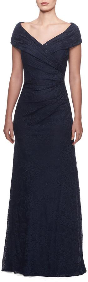 La Femme Off-the-Shoulder Ruched Lace Gown