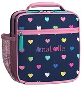 Pottery Barn Kids Classic Lunch Bag, Mackenzie Navy Multi Heart