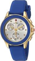Michele Women's 'Cape' Swiss Quartz Stainless Steel and Silicone Casual Watch, Color:Blue (Model: MWW27C000013)