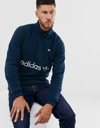 adidas fleece with half zip and embroidered logo in navy