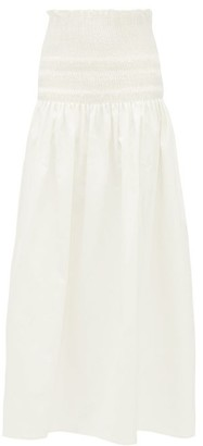Sir - Arlo Smocked Cotton-twill Midi Skirt - Ivory