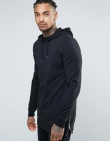 Asos Muscle Fit Hoodie In Longline With Side Zips