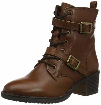 Dune London Dune Ladies Women's PAXTONE Buckle Detail Heeled Hiker Boots Size UK 4 Dark Tan Block Heel Hiker Boots