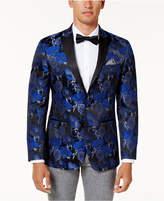 Tallia Men's Slim-Fit Blue and Black Floral Pattern Dinner Jacket