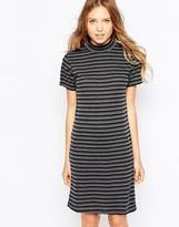 Ichi High Neck Striped Bodycon Dress