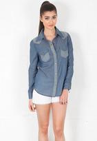 Siwy Denim Paulina Long Sleeve Snap Front Shirt in Aquarius