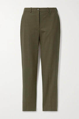 Michael Kors Collection Samantha Wool-blend Slim-leg Pants - Army green