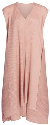 Pleats Please Issey Miyake Overlapped Back Tie Midi Dress
