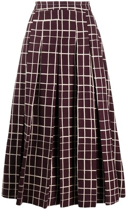 Marni checked A-line midi skirt