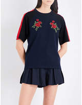 Musium Rose embroidered cotton-jersey T-shirt