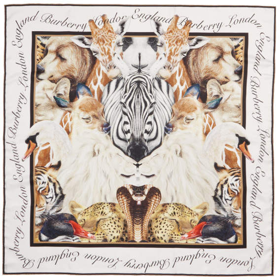 Burberry Multicolor Silk Animalia Scarf