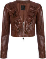 Pinko frill trim cropped leather jacket