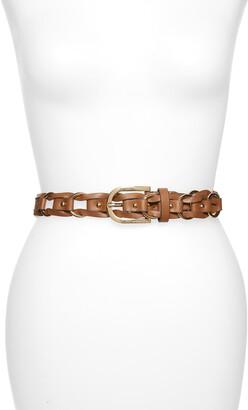 Michael Kors Braided Ring Leather Belt
