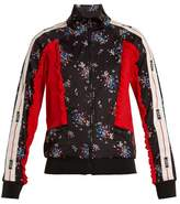 MSGM Floral-print contrast-panel track top
