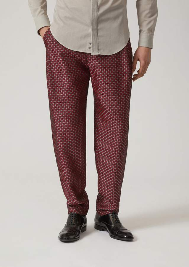 Emporio Armani Checked Print Crinkle Trousers