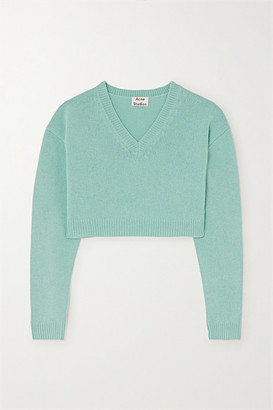 Acne Studios Cropped Wool Sweater - Light blue
