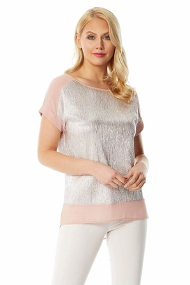 Roman Originals Women Shimmer Chiffon Hem Top - Ladies Smart Casual Evening Party Round Neck Short Sleeves Glitter Metallic Party Retro Holiday Cruise Jersey Tops - Pink - Size 12