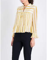Whistles Flossy striped chiffon blouse