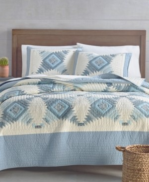 Martha Stewart Collection Artisan Bluebell Patchwork Reversible Twin/Twin Xl Quilt, Created for Macy's