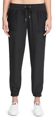 Dkny Sport Open-Hole Mesh Overlay Cropped Jogger Pants