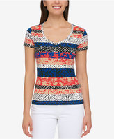 Tommy Hilfiger Cotton Mixed-Print T-Shirt, Created for Macy's