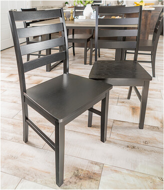 Set Of 2 Hewson Solid Wood Ladder Back Kitchen Dining Chairs