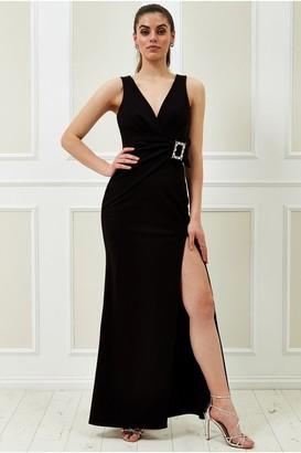 Goddiva Vicky Pattison Black Buckle Front Maxi Dress