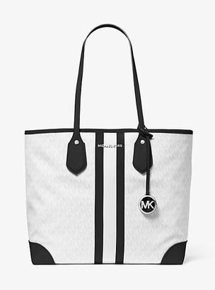 MICHAEL Michael Kors MK Eva Large Logo Stripe Tote Bag - White Combo - Michael Kors