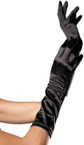 Leg Avenue Black Satin Elbow-Length Gloves