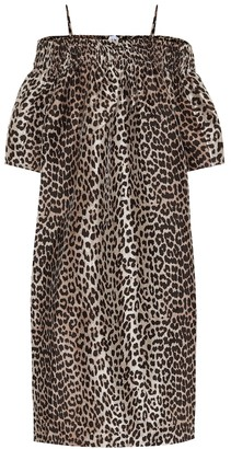 Ganni Leopard-print off-shoulder dress
