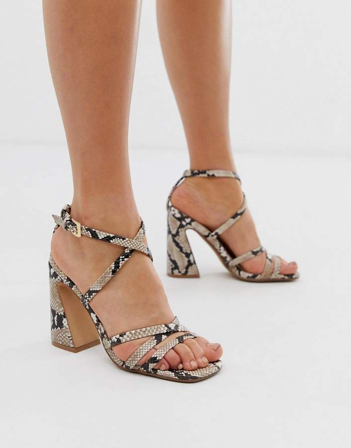By Dune Meredith natural snake print strappy heeled sandals with heel detail