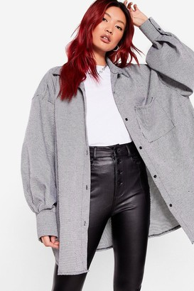 Nasty Gal Womens Run a Background Check Oversized Shirt Jacket - Black
