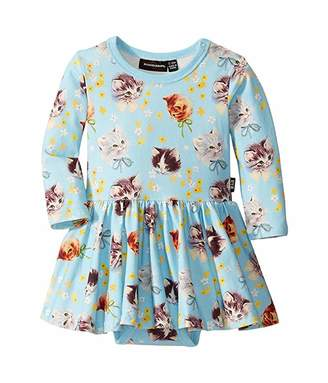Rock Your Baby Kittens Galore Long Sleeve Waisted Dress (Infant)
