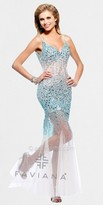Faviana Glamour Beaded Illusion Tulle Evening Dresses
