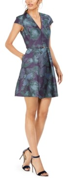 Vince Camuto Belted Floral Print Fit & Flare Dress