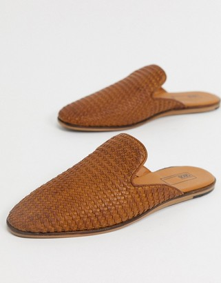ASOS DESIGN backless mule loafers in woven tan leather