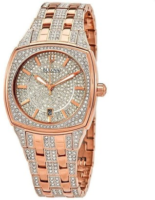 Bulova Women's 98B324 'Crystal Pave' Rose Gold-Tone Stainless Steel with Sets of Crystal Watch - Multi