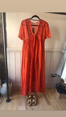 Sula Red Silk Smock Long Dress With Silk Slip