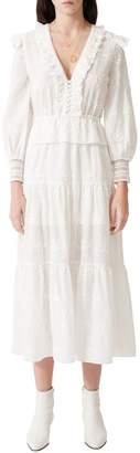Maje Roxana Embroidered Cotton Midi Dress