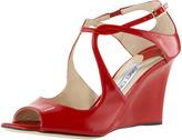 Jimmy Choo Cutout Patent Wedge Sandal