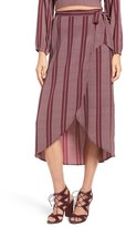 Band of Gypsies Women's Stripe Wrap Midi Skirt
