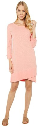 Mod-o-doc Slub Jersey 3/4 Sleeve Crossover Rib Hem Dress (Peach Blossom) Women's Clothing