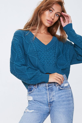 Forever 21 Cable Knit Cropped Sweater