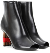 Balenciaga Bistrot leather peep-toe ankle boots