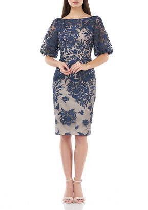 Carmen Marc Valvo Embroidered Bateau-Neck Puff-Sleeve Cocktail Dress