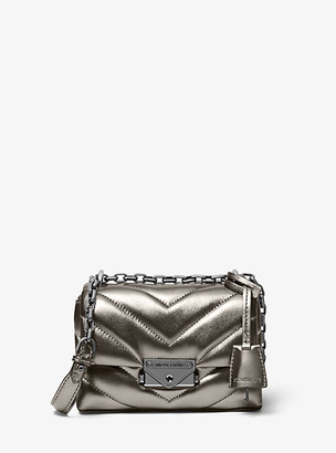MICHAEL Michael Kors MK Cece Extra-Small Quilted Metallic Leather Crossbody Bag - Anthracite - Michael Kors
