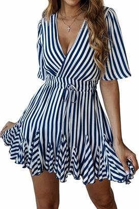 Dayiss Women's Short Sleeve Striped Dresses Wrap V Neck Ruffle Hem Pleated Mini Skater Dress (M