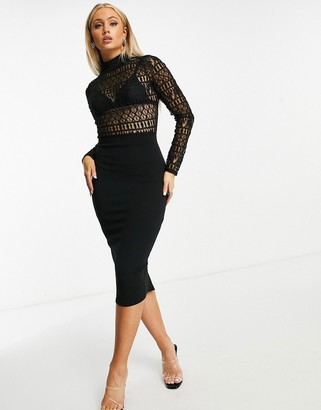 I SAW IT FIRST high neck lace body midi dress in black