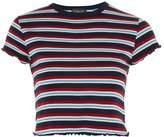 Topshop Short Sleeve Striped Lettuce T-Shirt
