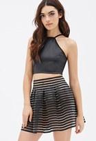 Forever 21 FOREVER 21+ Ribbed-Stripe Organza A-Line Skirt